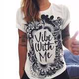 Colorful Printed T shirt Women Fashion Letter Short Sleeve O neck Chic Cotton T-shirts Female QL2115 - On Trends Avenue