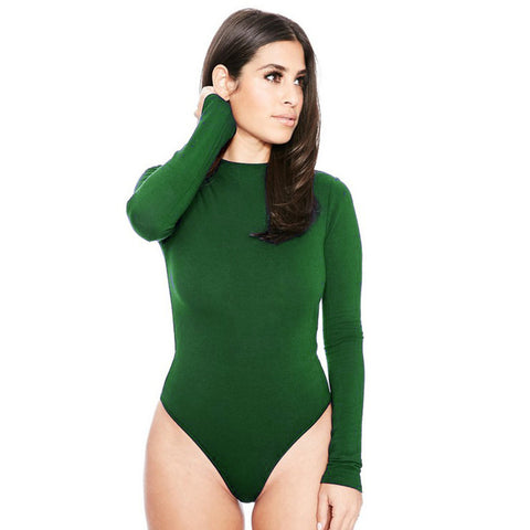 Slim Bodysuit Women Rompers Tight Long Sleeve O neck Short Jumpsuit barboteuse femme 10 colors QL1952 - On Trends Avenue