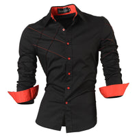 casual shirts dress male mens clothing long sleeve social slim fit brand boutique cotton western button white black t 2028 - On Trends Avenue