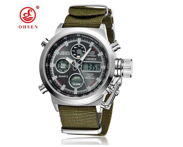 Luxury OHSEN Military Sport Watch Digital Canvas Strap Men's Watch High Quality Xfcs Wristwatch Relogio Masculino Relojes Hombre - On Trends Avenue