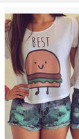 Crop Tops Women Round Neck Best Friends Print T Shirts - On Trends Avenue