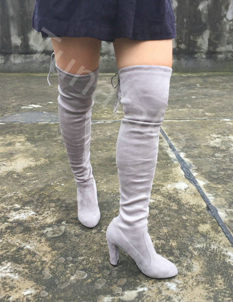 ad08f62a2469 Available in Large Sizes Womens Stretch Suede Over the Knee Boots Sexy  Fashion Slim Thigh High