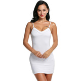 Ladies Women Casual Sexy Strap Slip Sleeveless V Neck Solid Bottoming Straight Dress Black White Nude size S M L XL XXL - On Trends Avenue