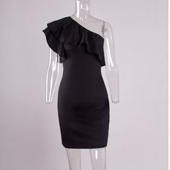 Dress Women Black Ruffles One Shoulder Casual Women Slim Bodycon Sleeveless Sexy Club Party Dresses vestidos - On Trends Avenue