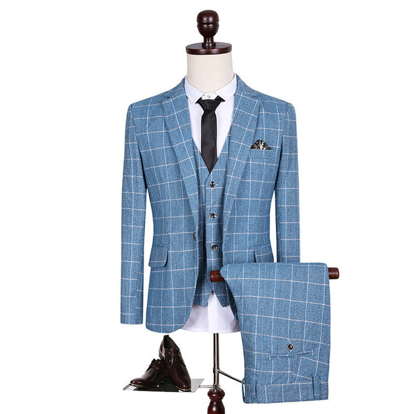 Custom Slim Fit Side Slit Light Blue Plaid Dress Notch Lapel Groom Tuxedos Men Suits Man Business Suit Jacket+Pant+Vest - On Trends Avenue