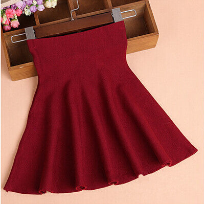 High Waist Knitted Skirts Women Pleated mini Skirt Casual Elastic Flared Skirt Female midi Short Skirt Woman - On Trends Avenue