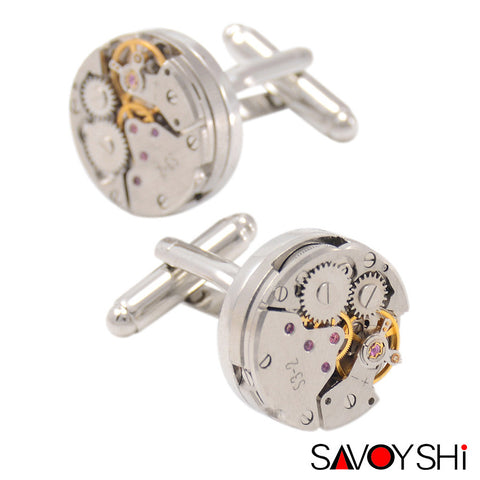 Classic Shirt Cufflinks for Men Brand High Quality Silver Mechanical Watch Movement Cuff Buttons Business Cufflinks Gift Jewelry - On Trends Avenue