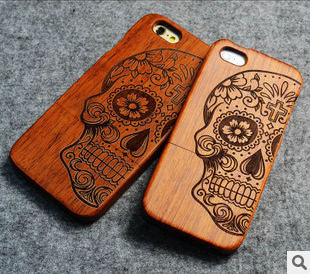 Retro Bamboo Wood Skull Carving Case for iPhone 5 5S Novelty Wooden Case Cover for iPhone 5S Customized - On Trends Avenue