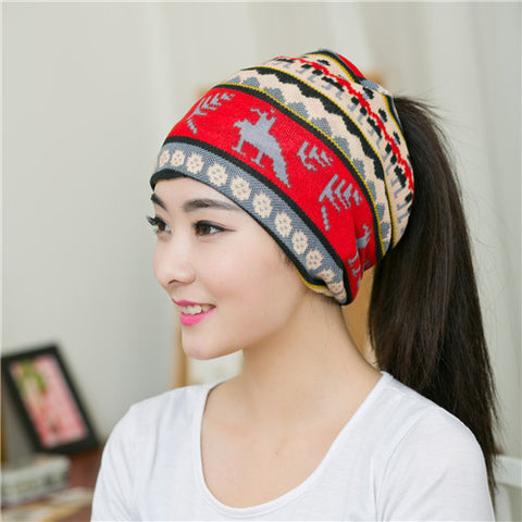 New Arrival 3 Hat Knitted Scarf & Winter Hats for Women Striped Beanies Hip-hot Skullies Girls Gorros Women Beanies j34-j37 - On Trends Avenue