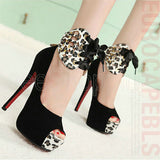 Fashion Leopard Sexy Pumps Platform Shoes Women Shoes High Heel Ankle Wrap Strap Ribbons High Heels Ladies Party Shoes O050 - On Trends Avenue