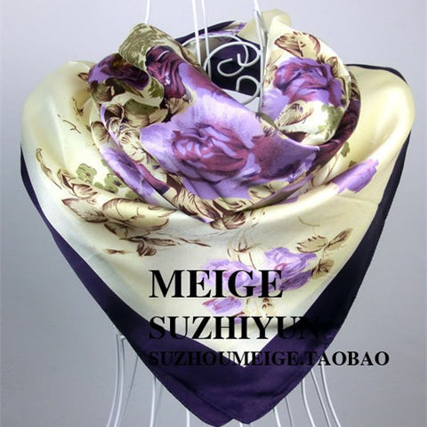 90cm*90cm Free Shipping  New Arrival Women Purple Flower Print oil painting square silk scarf women royal rose shawls - On Trends Avenue