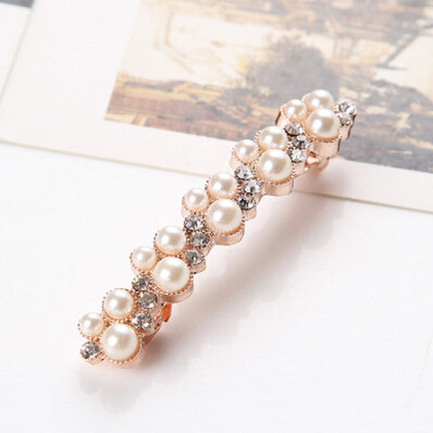 Fashion New Women Girls Elegant Crystal Rhinestone Pearl Barrettes Hair Clip Clamp Hair Accessory - On Trends Avenue