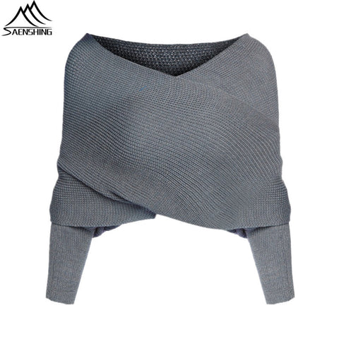 Women Cardigan Fashion Jumper Brand Grey Off the Shoulder Batwing Sleeve Knit Sweater Casual Knitted Crop Cardigan Plus Size - On Trends Avenue