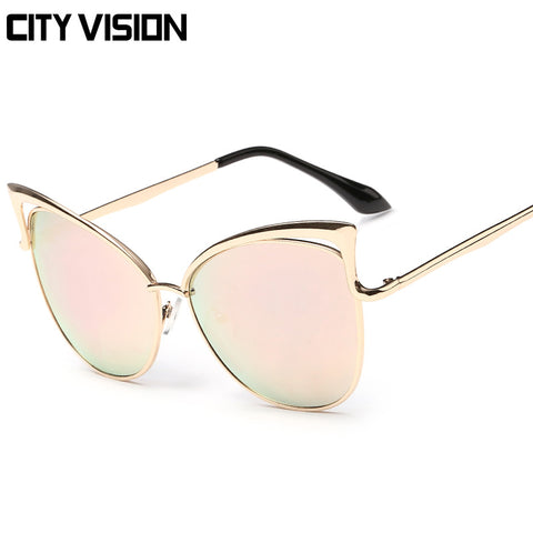 Sunglasses Cat Eye Female Eyewear Coating Fashion Shades sexy sunglass High Quality Points sun - On Trends Avenue