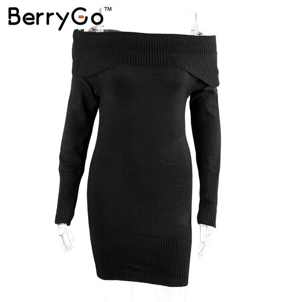 BerryGo off shoulder knitted bodycon dress Women sexy long sleeve party dress short white dresses vestidos - On Trends Avenue