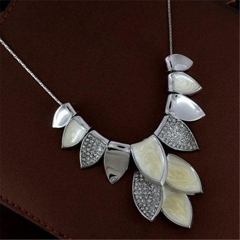 Lemon Value Statement Choker Vintage Charms Oil Drip Leaf Pendants Fashion Rhinestone Crystal Necklaces Women Jewelry Gift A480 - On Trends Avenue