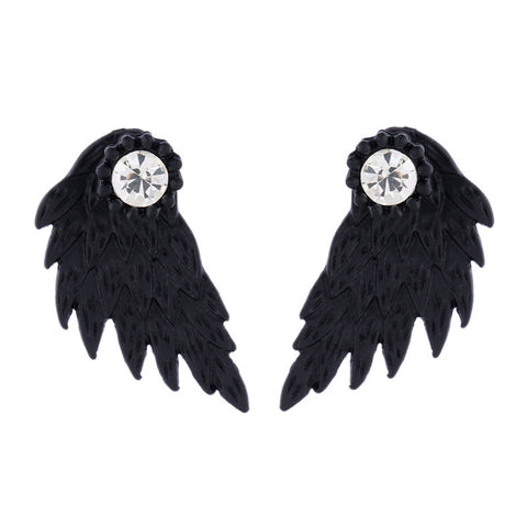 Women's Vintage Punk Angel Wings Alloy Crystal Ear Studs Earrings Fashion Jewelry More choices of colors for Party - On Trends Avenue