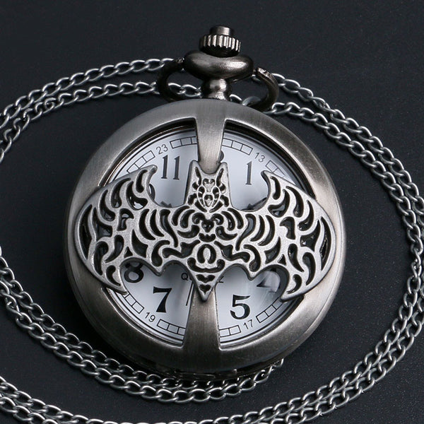 New Arrival High Quality Dark Gray Steampunk Titanium Steel Batman Pocket Watch Necklace Mens/Womens jewelry Promoations - On Trends Avenue