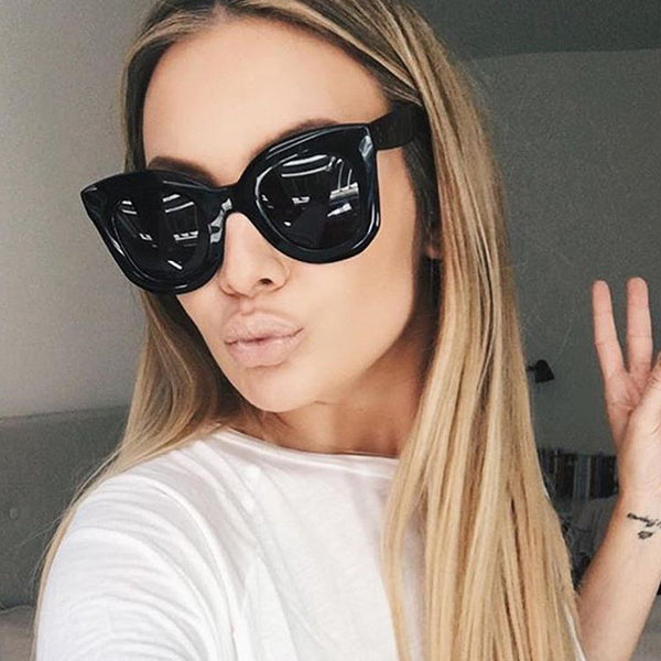 Winla Fashion Sunglasses Women Luxury Brand Designer Vintage Sun glasses Female Rivet Shades Big Frame Style Eyewear UV400 - On Trends Avenue