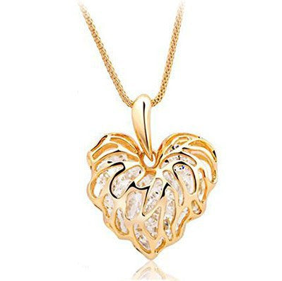 New Brand Gold Silver Leaf Heart Pendants Fashion Romantic Charms Crystal Rhinestone Long Necklaces Women Fine Jewelry A072 - On Trends Avenue