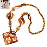 6 Style Bohemian Vintage Charms Collar Wooden Bead Necklaces&Pendants Long Chain - On Trends Avenue