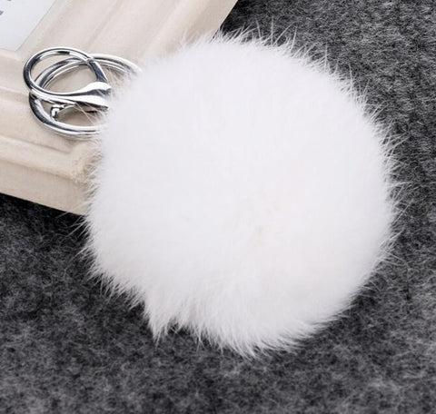 14Colors 8CM Genuine Rabbit Fur Ball Car Keychain New Year Gift Silver Plated Key Chain Women Gifts Couples Keychain Men - On Trends Avenue