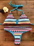 Women Bandeau Bikini Reversible Print swimsuit Strappy swimwear biquini trikini 1112 - On Trends Avenue