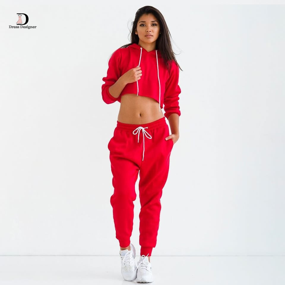 Fashion Two Piece Tracksuits Pants Long Sleeve Hoodies Sweatshirts Cotton Crop Tops Loose Casual Black Tracksuit - On Trends Avenue