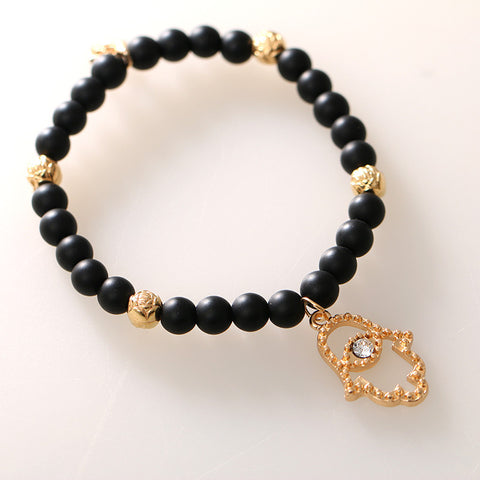 New Fashion Charms Turquoise Beads Gem Elastic Force Bracelet Vintage Hamsa Hand Crystal Bracelets Women Fine Jewelry D114 - On Trends Avenue