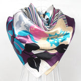 Elegent Women Large Square Silk Scarf Printed,90*90cm 2colors - On Trends Avenue