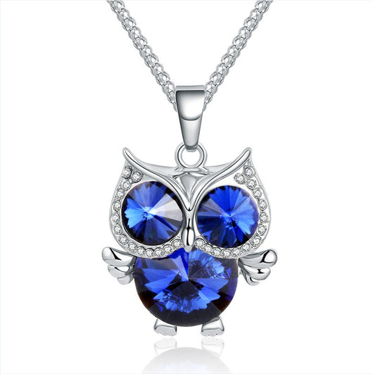 Lemon Value Fashion Charms Crystal Glass Owl Pendant Vintage Cubic Zircon Diamond Long Necklace Women Jewelry Femme Gift A002 - On Trends Avenue