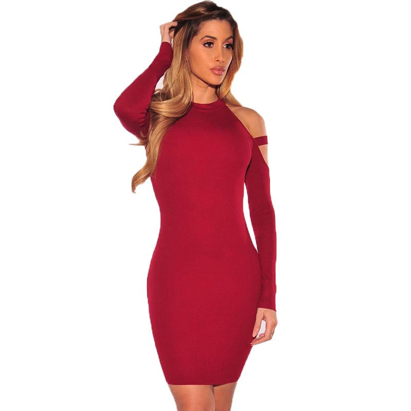 ForeFair Winter Sexy Off Shoulder Club Party Dresses Women Long Sleeve Cotton Elastic Casual Bodycon Dress - On Trends Avenue