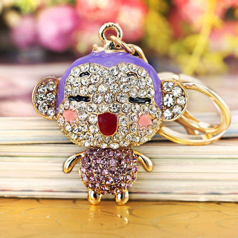 Crystal Monkey Enamel  keyring or HandBag Pendant - On Trends Avenue