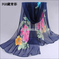 fashion pashmina women scarf new design floral shawl Cape silk chiffon Tippet muffler hot sale Scarves - On Trends Avenue