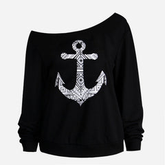 Available in Large Sizes  Plus Size Women Sweatshirts Sexy Red Big Lips Printed Off Shoulder Long-Sleeved Edge Pullovers Hoodies Sudaderas Mujer - On Trends Avenue