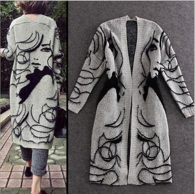 Winter Rabbit Hair Blend Knitted Cardigans Women Girl Print Jumper Sweater Thicken Maxi Cardigan Coat Oversized - On Trends Avenue