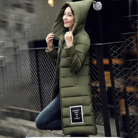 Available in Large Sizes  Hooded Long Down Cotton-padded Jacket Parka - On Trends Avenue