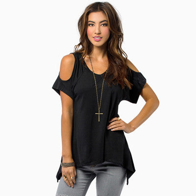 American Apparel Off Shoulder Tops T Shirt Women Camisas Femininas 2016 Camisetas Mujer Short Sleeve Tshirt Woman Vetement Femme - On Trends Avenue