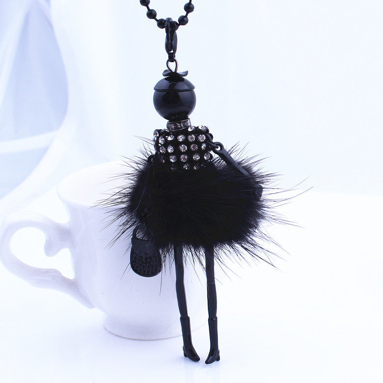 Women Rhinestone Necklace Lovely Dress Doll Sweater Chain Long Necklace Girls Pendant Fluffy Jewelry - On Trends Avenue