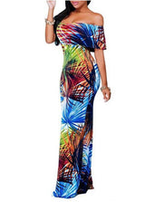 Boho Fashion Sexy Bodycon Long Dresses Off The Shoulder Strapless Flower Print Backless Elegant Party Maxi Dress - On Trends Avenue