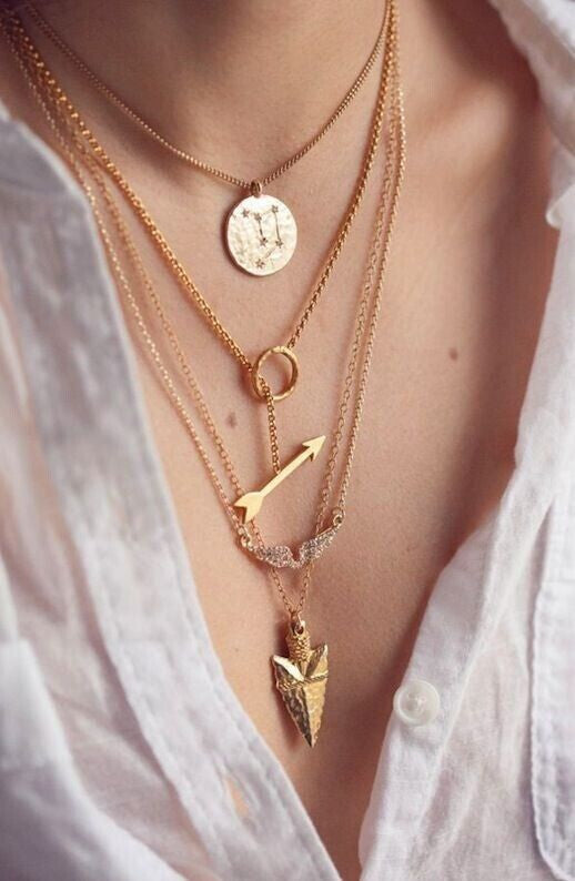 New women cheap multi layer necklace gold maxi charms personalized lariat necklaces & pendants long nameplate necklaces - On Trends Avenue