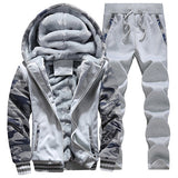 Man's Hoodies&Pants Suit Clothing Man's Winter Plus Velvet Hoodie Men Print Hooded Jacket Coats Long Sleeve And Long Pants - On Trends Avenue
