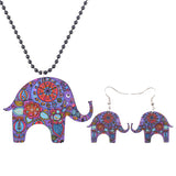Newei Brand Jewelry Sets Elephant Pendant Dangle Earrings AcrylicPattern New Fashion Jewelry For Women Charm Accessories - On Trends Avenue