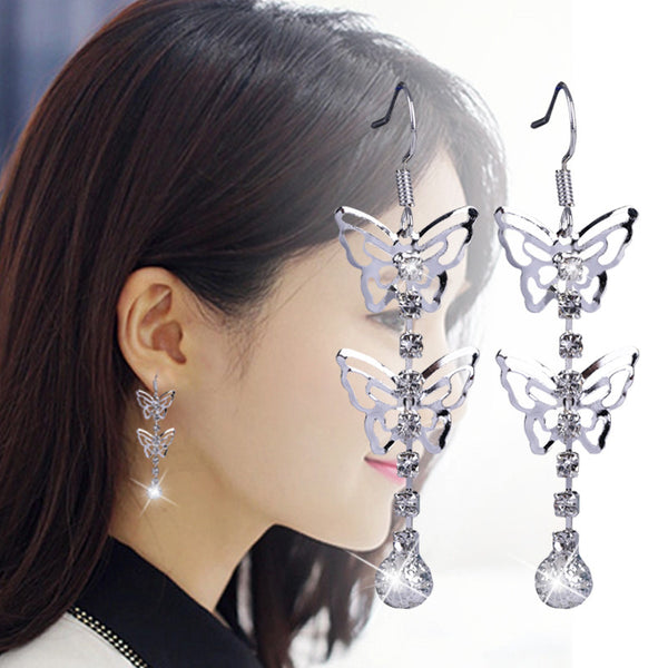 New Fashion Luxury Crystal Cubic Zircon Diamond Rhinestone Double Butterfly Long Drop Earrings For Women Jewelry B002 - On Trends Avenue