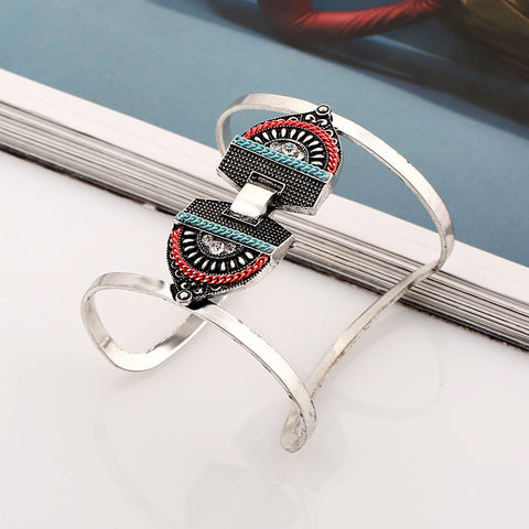 Bohemia Vintage Punk Alloy Metal Wide Upper Arm Bracelet For Women Cuff Open Bangle Jewelry Ethnic Armband Bangles - On Trends Avenue