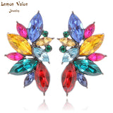 Lemon Value New Fashion Crystal Bijoux Vintage Statement Candy Color Rhinestone Female Stud Earrings Women Jewelry Brincos H013 - On Trends Avenue