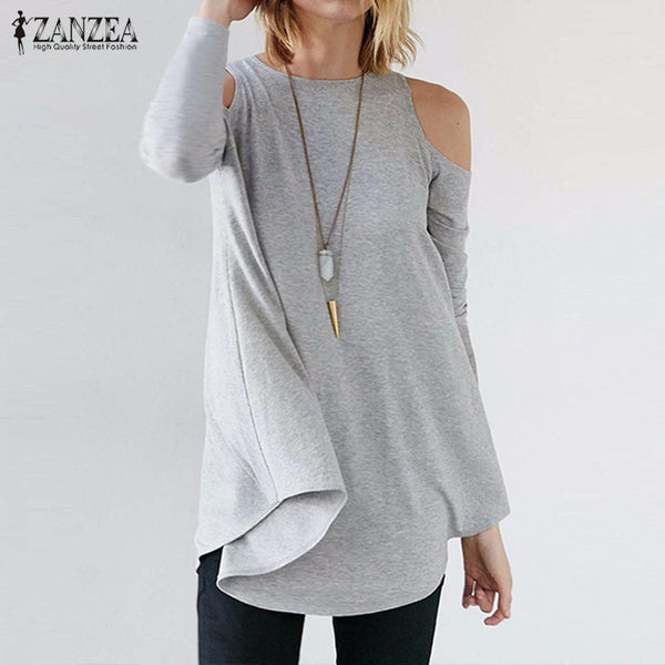 ZANZEA Women Elegant Blusas Tops Ladies Sexy Tunic Off Shoulder Long Sleeve Pullover Casual Loose Blouse Shirts - On Trends Avenue