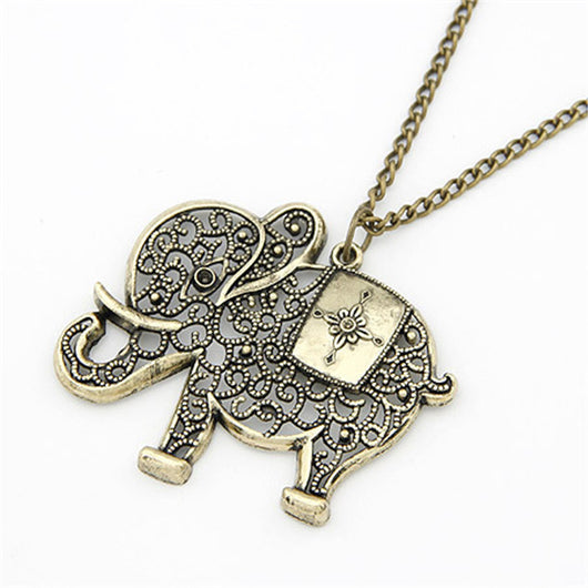 Lemon Value Fashion Cute Vintage Retro Charms Hollow Out Elephant Metal Necklace&Pendants Women Jewelry Gift A416 - On Trends Avenue