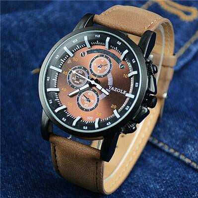 Big Dial Casual Watch Men Luxury Brand Analog Sports Military Watches Leather Quartz Relogio Masculino Reloj Hombre AB1057 - On Trends Avenue