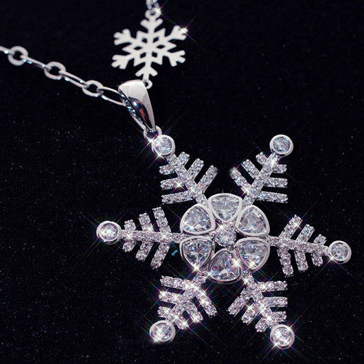 Lemon Value Fashion Romantic Charms Crystal Snowflake Pendants With AAA Ziron Long Necklaces Women Wedding Jewelry Gift A246 - On Trends Avenue